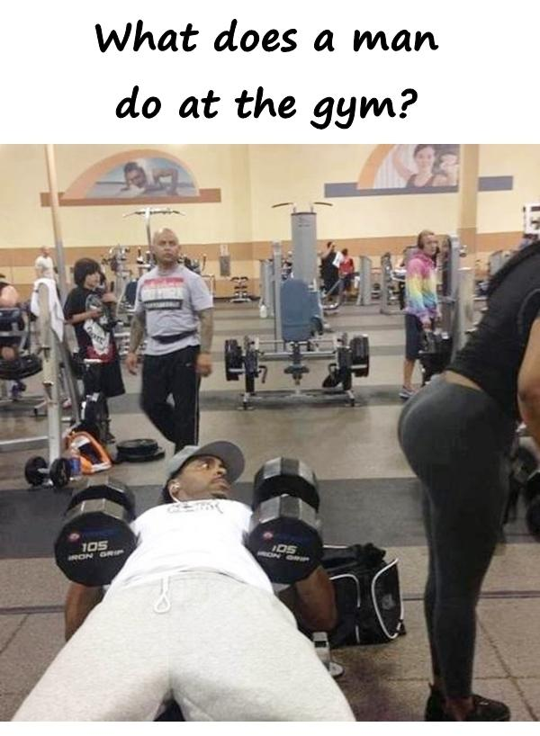 What does a man do at the gym?