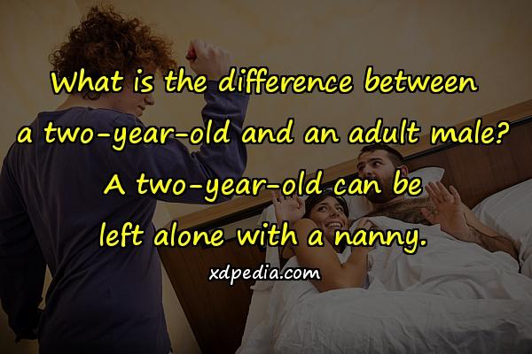 What is the difference between a two-year-old and an adult male? A two-year-old can be left alone with a nanny.