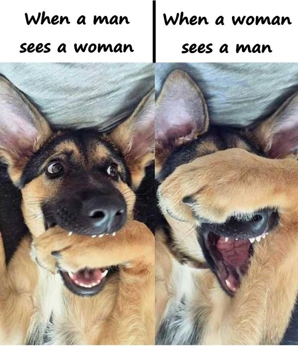 When a man sees a woman. When a woman sees a man.