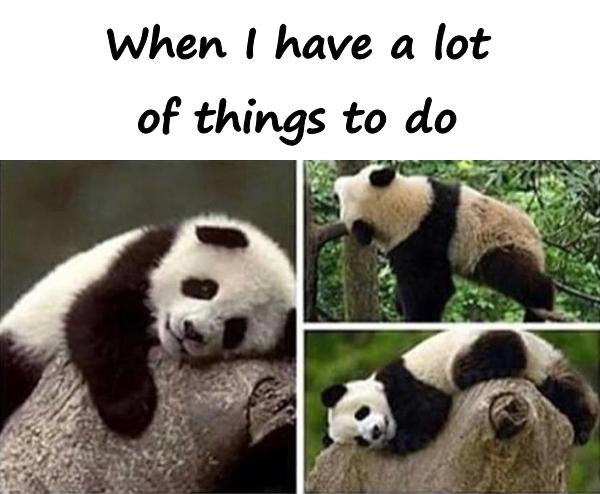 When I have a lot of things to do