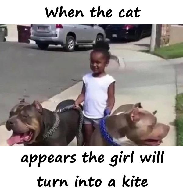 When the cat appears the girl will turn into a kite