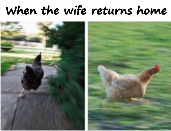 When the wife returns home
