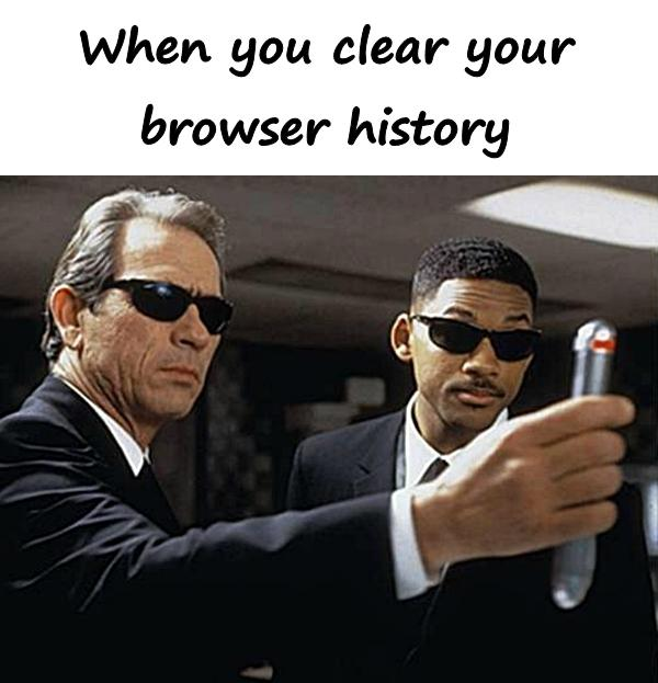 When you clear your browser history