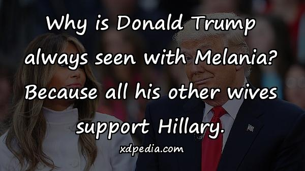 Why is Donald Trump always seen with Melania? Because all his other wives support Hillary.