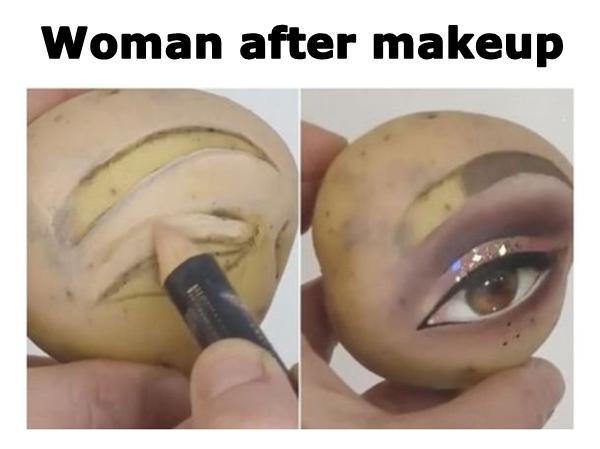 Woman after makeup