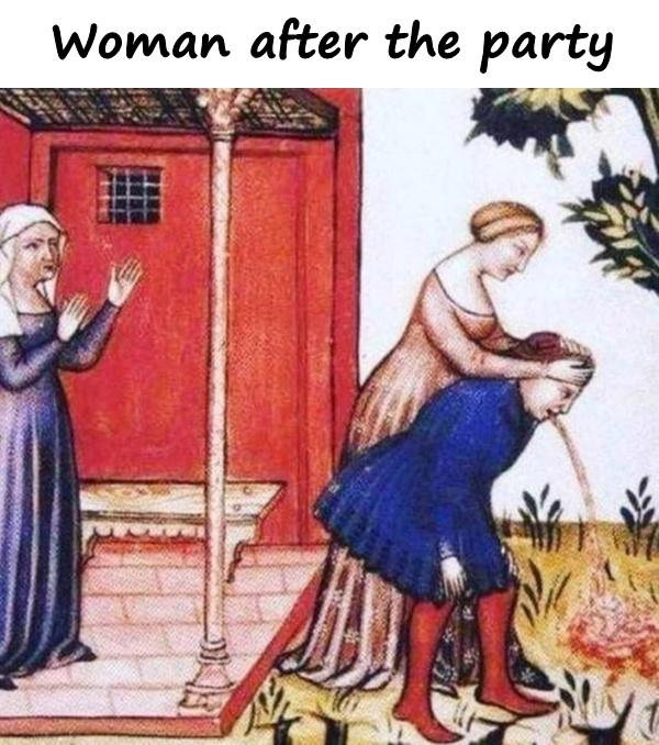 Woman after the party