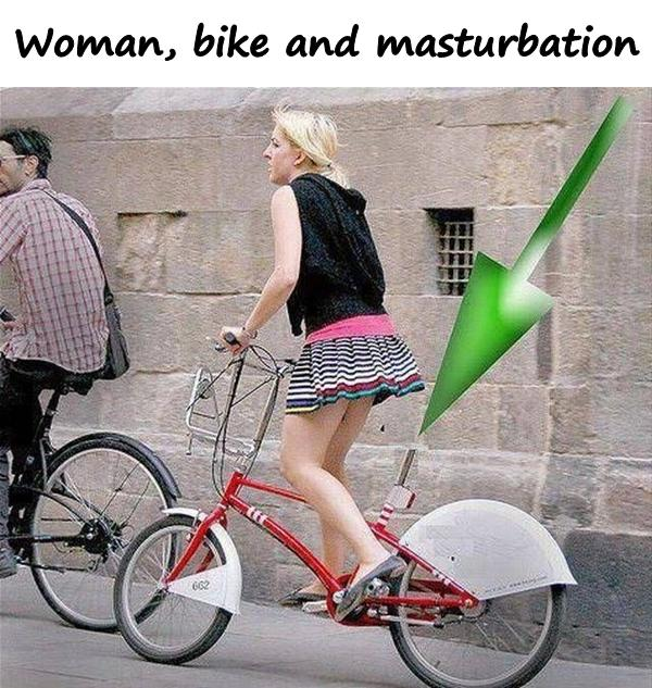Woman, bike and masturbation