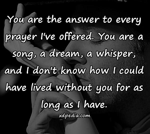 You are the answer to every prayer I've offered. You are a song, a dream, a whisper, and I don't know how I could have lived without you for as long as I have.