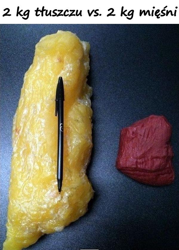 2 kg tłuszczu vs. 2 kg mięśni