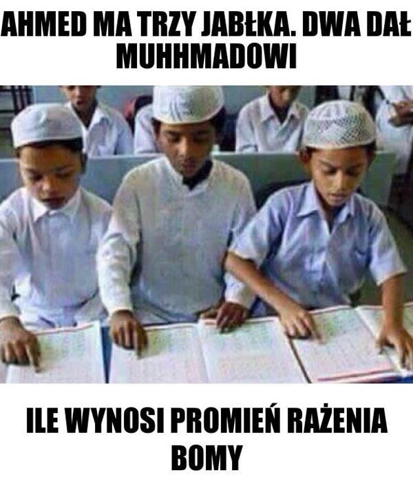Ahmed ma trzy jabłka. Dwa dał Muhhmadowi. Ile wynosi promień rażenia bomby?