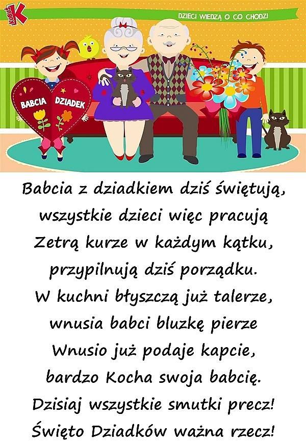 Wiersz Kartka Na Dzień Babci życzenia Dla Babci życzenia