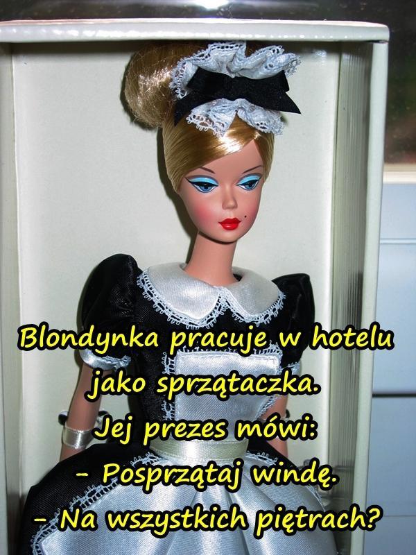 Blondynka pracuje w hotelu jako sprzątaczka. Jej prezes mówi: - Posprzątaj windę. - Na wszystkich piętrach?