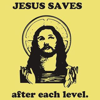 Jesus saves after each level.