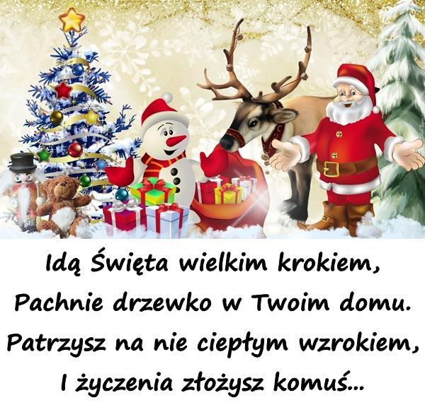 Idą Święta wielkim krokiem, Pachnie drzewko w Twoim domu. Patrzysz na nie ciepłym wzrokiem, I życzenia złożysz komuś...
