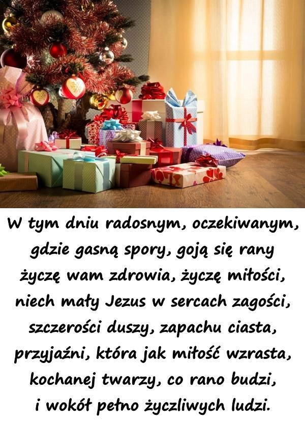 W tym dniu radosnym, oczekiwanym, gdzie gasną spory, goją się rany życzę wam zdrowia, życzę miłości, niech mały Jezus w sercach zagości, szczerości duszy, zapachu ciasta, przyjaźni, która jak miłość wzrasta, kochanej twarzy, co rano budzi, i wokół pełno życzliwych ludzi.