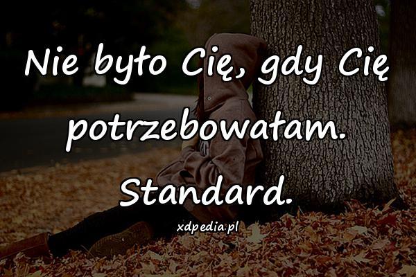 Nie było Cię, gdy Cię potrzebowałam. Standard.