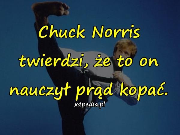 Chuck Norris twierdzi, że to on nauczył prąd kopać.