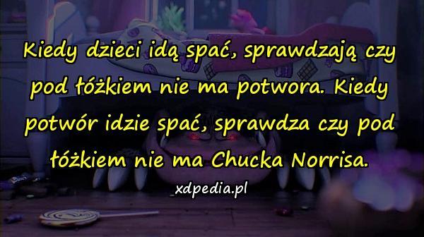 Kiedy dzieci idą spać, sprawdzają czy pod łóżkiem nie ma potwora. Kiedy potwór idzie spać, sprawdza czy pod łóżkiem nie ma Chucka Norrisa.