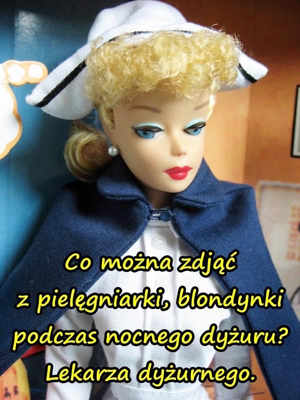 Co można zdjąć z pielęgniarki, blondynki podczas nocnego dyżuru? Lekarza dyżurnego.