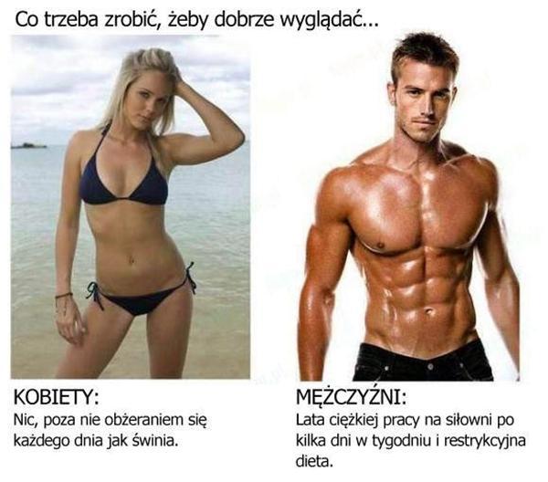Kobiety: Nic, poza nie obżeraniem się każdego dnia jak świnia. Mężczyźni: Lata ciężkiej pracy na siłowni po kilka dni w tygodniu i restrykcyjna dieta.