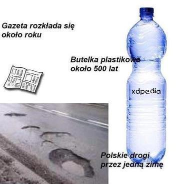 Butelka plastikowa rozkłada się około 500 lat. Gazeta rozkłada się około roku. Polskie drogi przez jedną zimę.