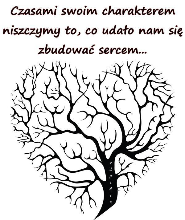 Czasami swoim charakterem niszczymy to, co udało nam się zbudować sercem...