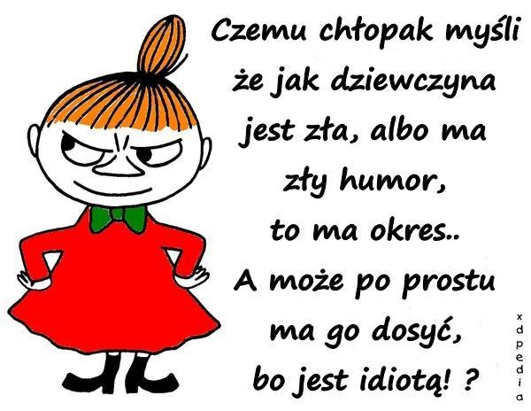 Czemu chłopak myśli że jak dziewczyna jest zła, albo ma zły humor, to ma okres.. A może po prostu ma go dosyć, bo jest idiotą!?