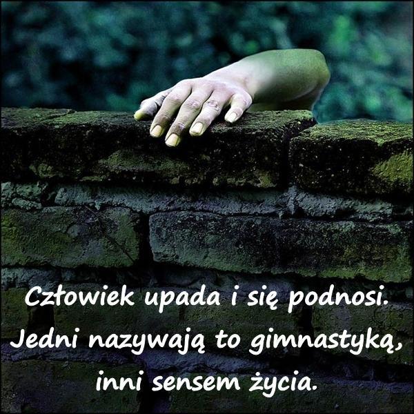 Człowiek upada i się podnosi. Jedni nazywają to gimnastyką, inni sensem życia.