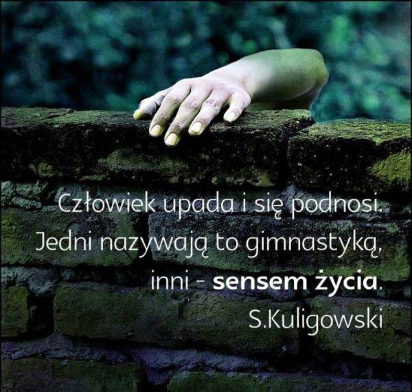 Człowiek upada i się podnosi. Jedni nazywają to gimnastyką inni sensem życia.