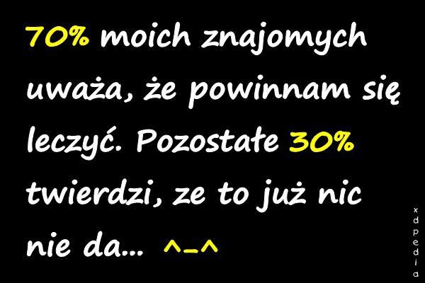 70% moich znajomych uważa, że powinnam się leczyć. Pozostałe 30% twierdzi, ze to już nic nie da... ^-^