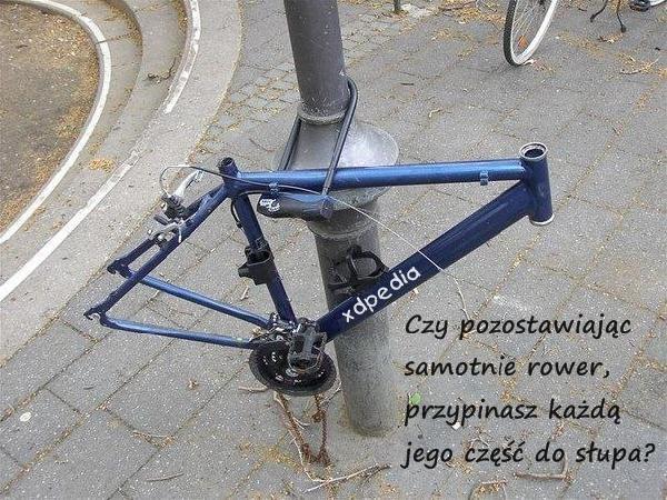 Czy pozostawiając samotnie rower, przypinasz każdą jego część do słupa?