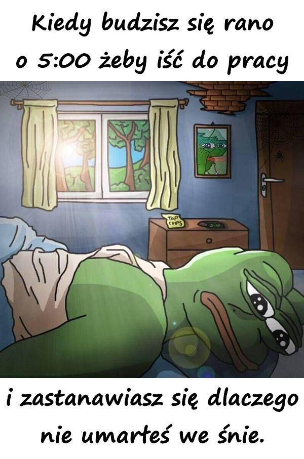 Kiedy budzisz się rano o 5:00 żeby iść do pracy i zastanawiasz się dlaczego nie umarłeś we śnie.