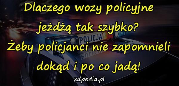 Dlaczego wozy policyjne jeżdżą tak szybko? Żeby policjanci nie zapomnieli dokąd i po co jadą!