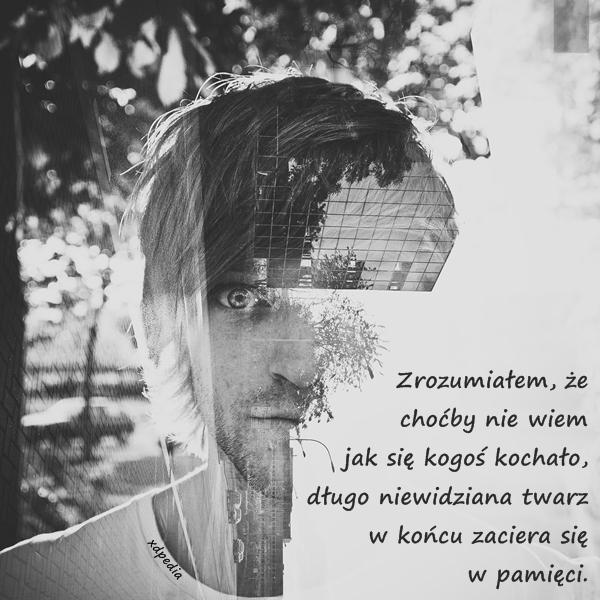 Zrozumiałem, że choćby nie wiem jak się kogoś kochało, długo niewidziana twarz w końcu zaciera się w pamięci. Tagi: miłość, memy, twarz, mem, pamięć, zapomnienie, rozłąka, lovsy.