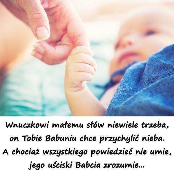 Wnuczkowi małemu słów niewiele trzeba, on Tobie Babuniu chce przychylić nieba. A chociaż wszystkiego powiedzieć nie umie, jego uściski Babcia zrozumie...