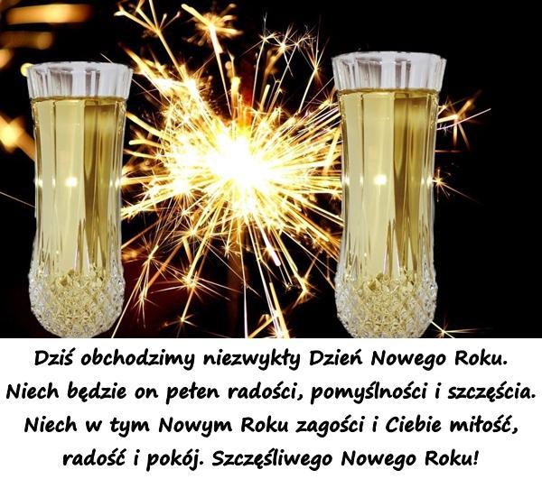 Dziś obchodzimy niezwykły Dzień Nowego Roku. Niech będzie on pełen radości, pomyślności i szczęścia. Niech w tym Nowym Roku zagości i Ciebie miłość, radość i pokój. Szczęśliwego Nowego Roku!