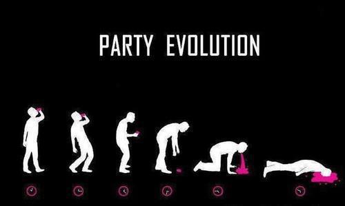 Ewolucja podczas imprezy. Od pierwszego drinka do zaśnięcia.