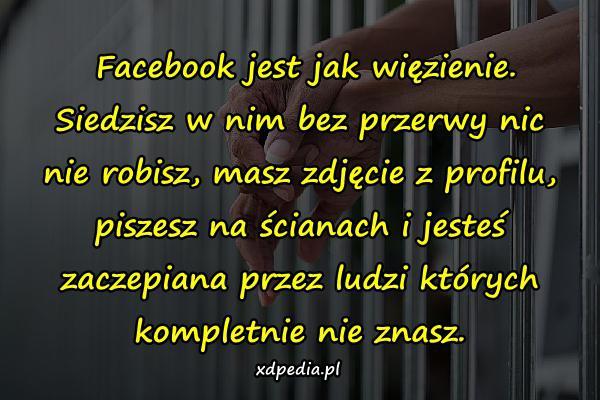 Facebook jest jak więzienie. Siedzisz w nim bez przerwy nic nie robisz, masz zdjęcie z profilu, piszesz na ścianach i jesteś zaczepiana przez ludzi których kompletnie nie znasz.