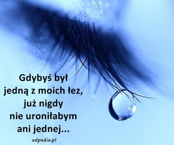 Gdybyś był jedną z moich łez, już nigdy nie uroniłabym ani jednej