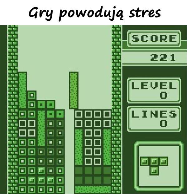 Gry powodują stres