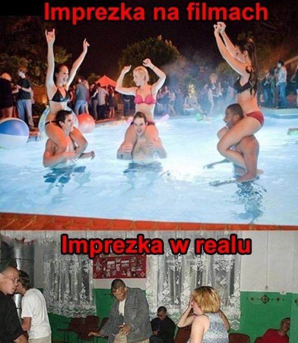 Imprezka na filmach a w realu