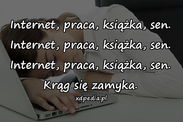 Internet, praca, książka, sen. Internet, praca, książka, sen. Internet, praca, książka, sen. Krąg się zamyka.