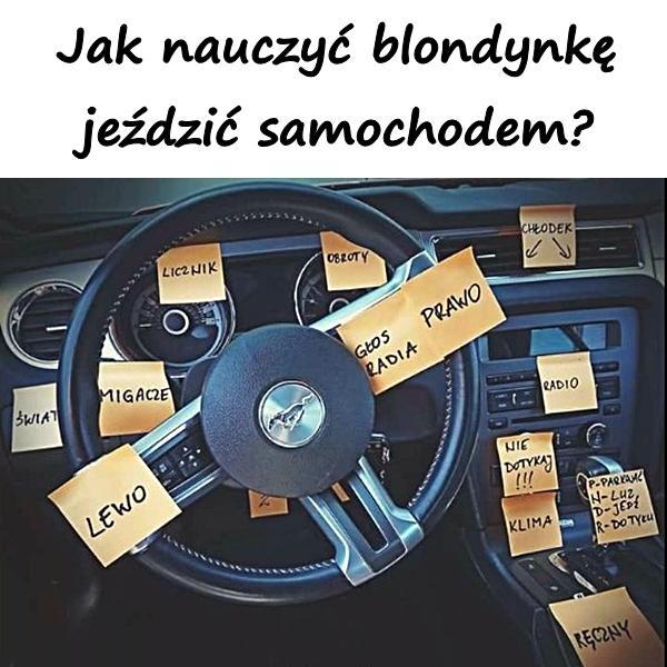 Jak nauczyć blondynkę jeździć samochodem?