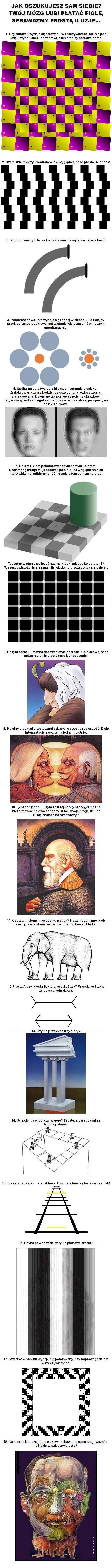 Jak oszukujesz sam siebie? Twój mózg lubi płatać figle, sprawdźmy prostą iluzję... 1. Czy obrazek wydaje się falować? W rzeczywistości tak nie jest! Dzięki wysokiemu kontrastowi, ruch źrenic porusza obraz. 2. Szare linie między kwadratami nie wyglądają dość prosto. A jednak! 3. Trudno uwierzyć, lecz oba zakrzywienia są tej samej wielkości! 4. Pomarańczowe koła wydają się różniej wielkości? To kolejny przykład, że perspektywa jest w stanie wiele zmienić w naszym spostrzeganiu. 5. Spójrz na obie twarze z bliska, a następnie z daleka. Zrelaksowana twarz bezie rozzłoszczona, a rozzłoszczona będzie zrelaksowana. Dzieje się tak ponieważ jeden z obrazków narysowany jest szczegółowo, a ludzkie oko z dalszej perspektywy ich nie zauważa. 6. Pola A i B jest pokolorowane tym samym kolorem. Nasz mózg interpretuje obrazki jako 3D i ze względu na cień, który widzimy, odbieramy różne pola o tym samym kolorze. 7. Jesteś w stanie policzyć czarne kropki między kwadratami? W rzeczywistości ich nie ma! Nie wiadomo dlaczego tak się dzieje... 8. Na tym obrazku można dostrzec dwie postacie. Co ciekawe nasz mózg nie umie tego zrobić jednocześnie. 9. Kolejny przykład artystycznej zabawy w spostrzegawczość! Dwie interpretacje zawarte na jednym płótnie. 10. I jeszcze jeden... Z tym, że tutaj każdy szczegół można interpretować na dwa sposoby. A tak swoją drogą, ile uda Ci się znaleźć na nim twarzy? 11. Czy z tym słoniem wszystko jest ok? Nasz mózg mimo prób nie będzie w stanie wizualnie zidentyfikować błędu. 12. Prosta A czy prosta B, która jest dłuższa? Prawda jest taka, że obie są jednakowe. 13. Czy na pewno są trzy filary? 14. Schody idą w dół czy w górę? Proste, a paradoksalnie trudne pytanie. 15. Kolejna zabawa z perspektywą. Czy żółte linie są takie same? Tak! 16. Czy na pewno widzisz tylko pionowe kreski? 17. Kwadrat w środku wydaje się pofalowany, czy naprawdę tak jest w rzeczywistości? 18. Na koniec jeszcze jedna ciekawa zabawa na spostrzegawczość. Ile i jakie widzisz zwierzęta?