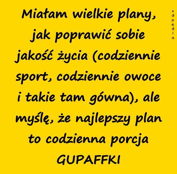 Miałam wielkie plany, jak poprawić sobie jakość życia (codziennie sport, codziennie owoce i takie tam gówna), ale myślę, że najlepszy plan to codzienna porcja GUPAFFKI