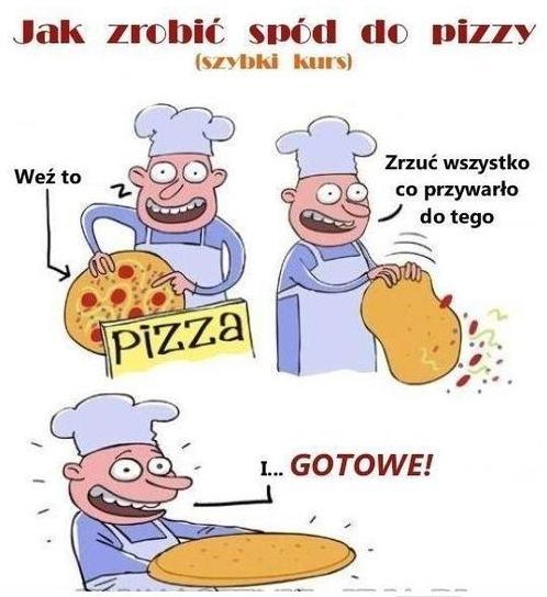 Jak zrobić spód od pizzy? (szybki kurs) Weź to... Zrzuć wszystko co przywarło do tego I... gotowe!