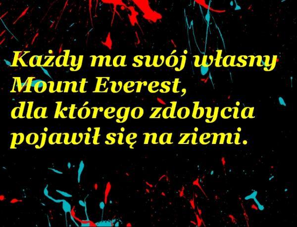 Każdy ma swój własny Mount Everest, dla którego zdobycia pojawił się na ziemi.