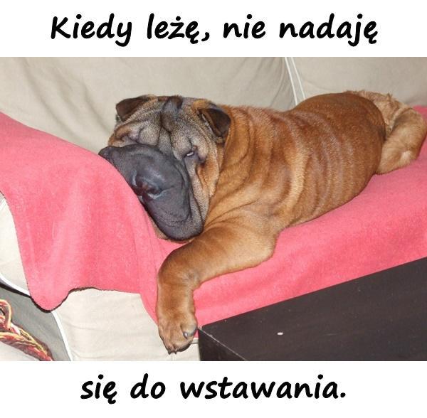 Kiedy leżę, nie nadaję się do wstawania.