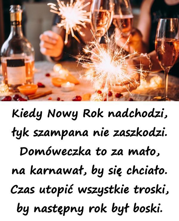 Kiedy Nowy Rok nadchodzi, łyk szampana nie zaszkodzi. Domóweczka to za mało, na karnawał, by się chciało. Czas utopić wszystkie troski, by następny rok był boski.