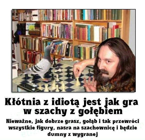 Kłótnia z idiotą jest jak gra w szachy z gołębiem. Nieważne, jak dobrze grasz, gołąb i tak przewróci wszystkie figury, nasra na szachownicę i będzie dumny z wygranej
